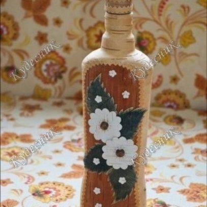 Бутылка декорированная берестой большая (3)