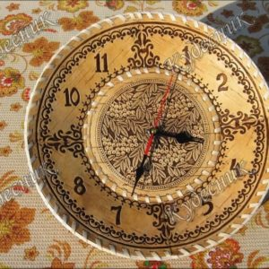 Часы из бересты Д30 Рябина