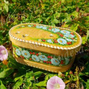 Батонница на шарнире Букет ромашек (роспись)